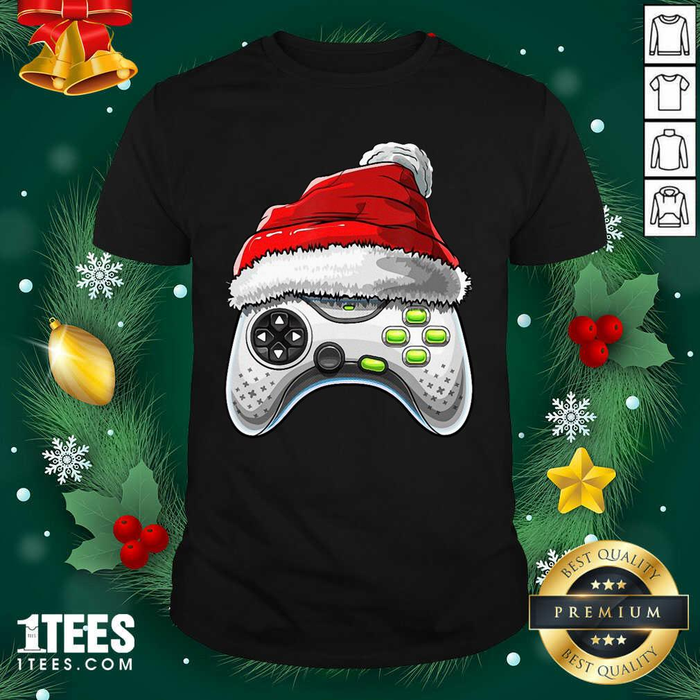 Video Game Controller Santa Hat Christmas Shirt- Design By 1Tees.com