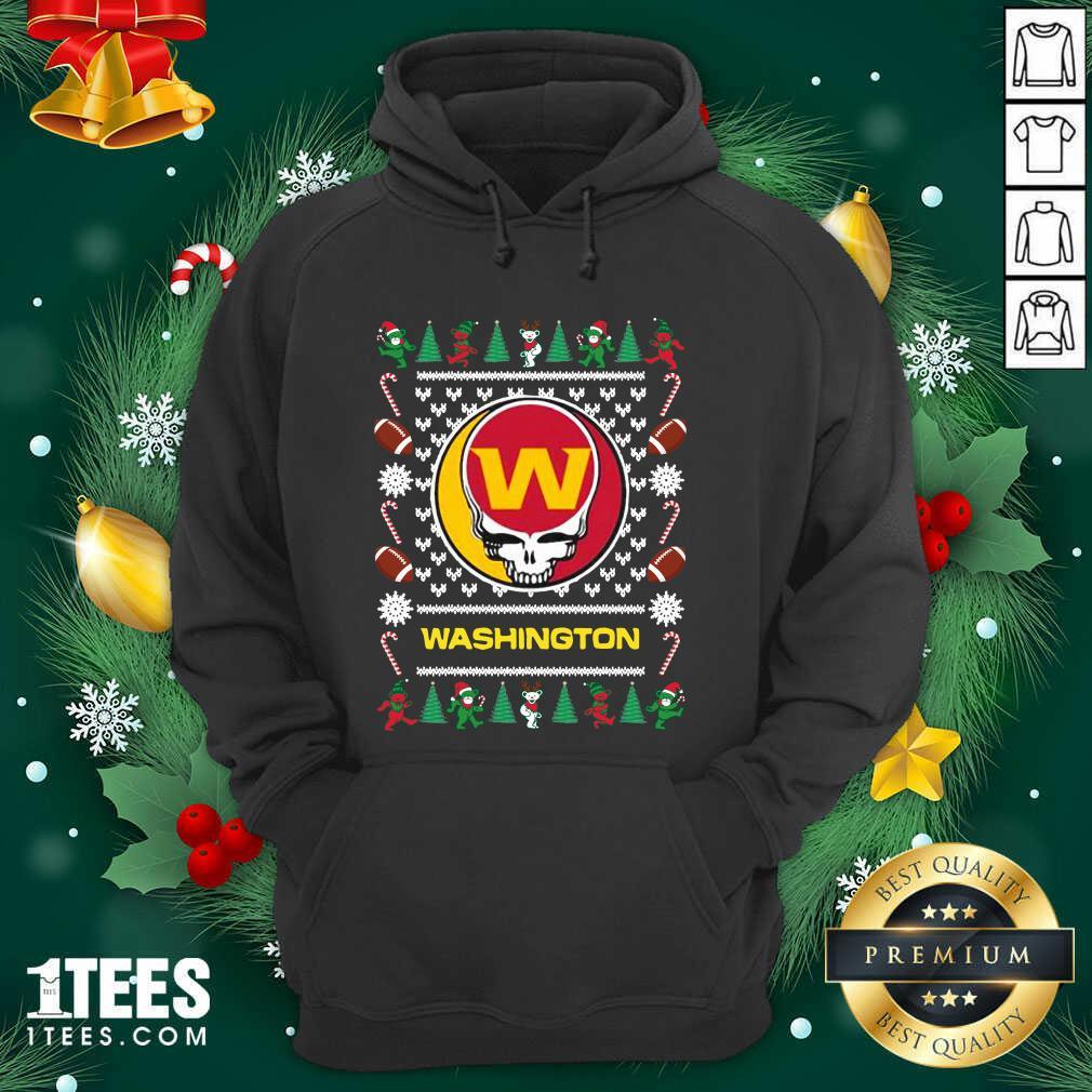 Washington Football Team Grateful Dead Ugly Christmas Hoodie- Design By 1Tees.com