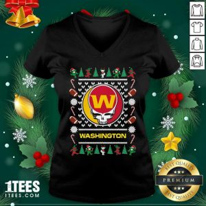 Washington Football Team Grateful Dead Ugly Christmas V-neck- Design By 1tees.com