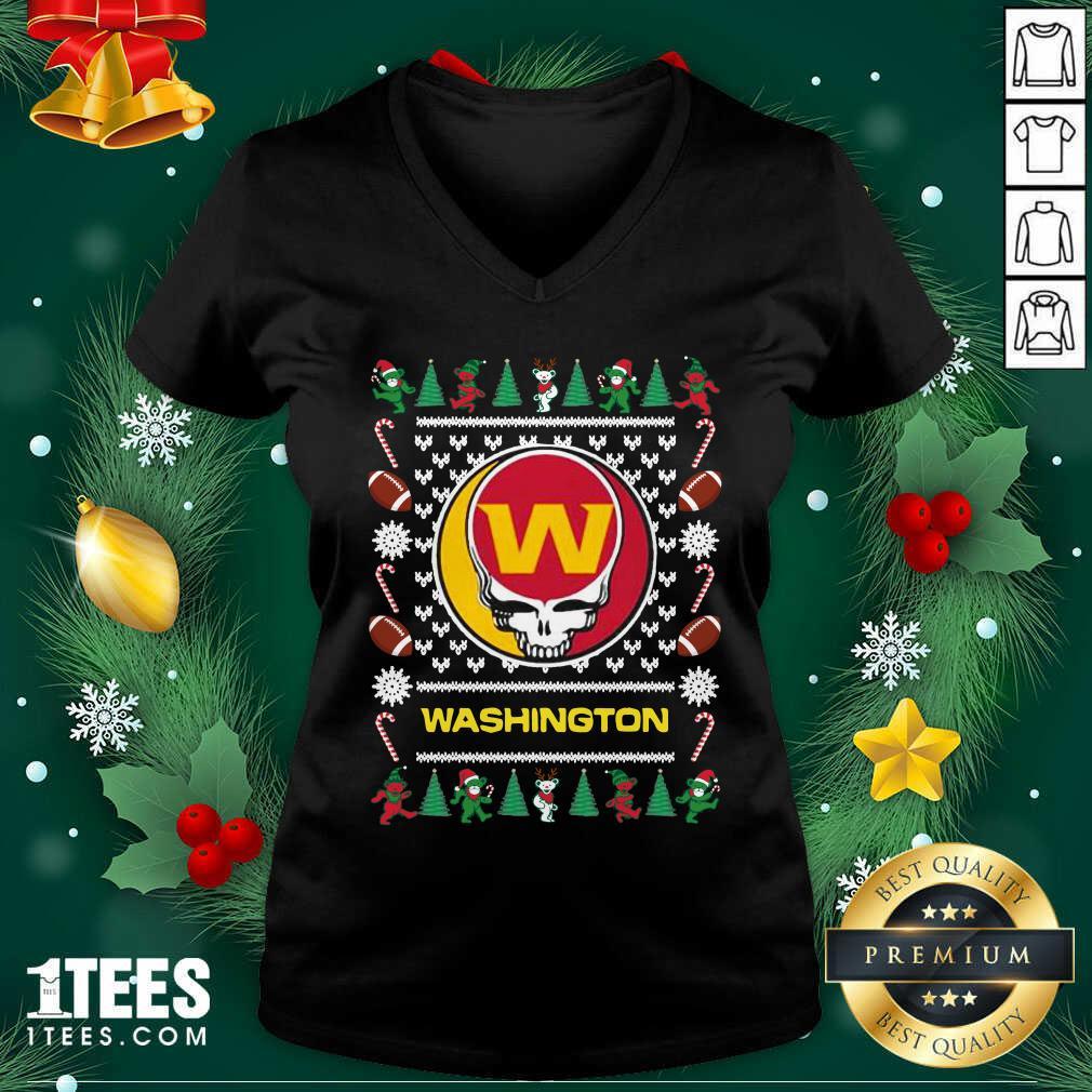 Washington Football Team Grateful Dead Ugly Christmas V-neck- Design By 1tees.com
