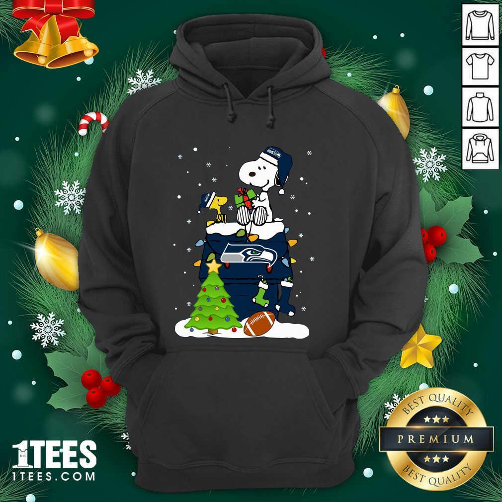 Snoopy Merry Christmas Nfl Seahawks Unisex Hoodie- Design By 1Tees.com