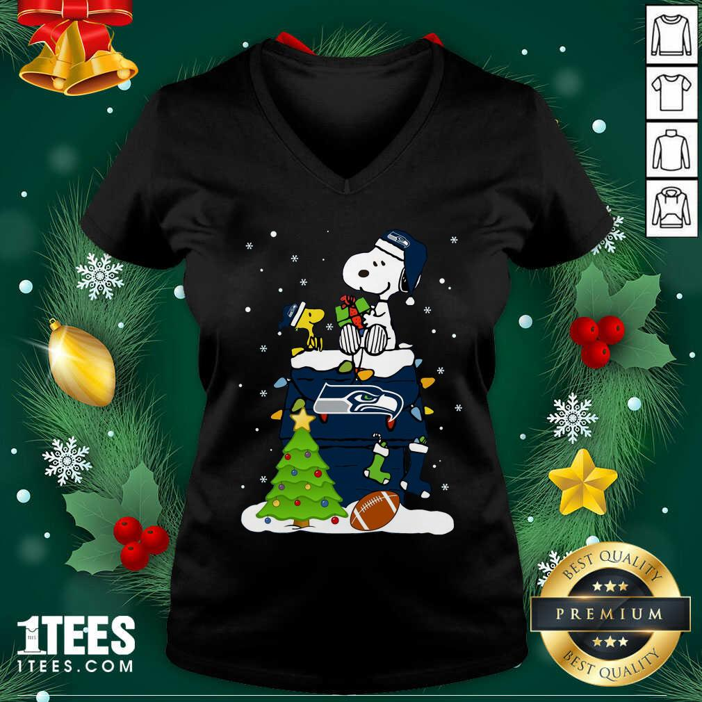 Snoopy Merry Christmas Nfl Seahawks Unisex V-neck- Design By 1Tees.com