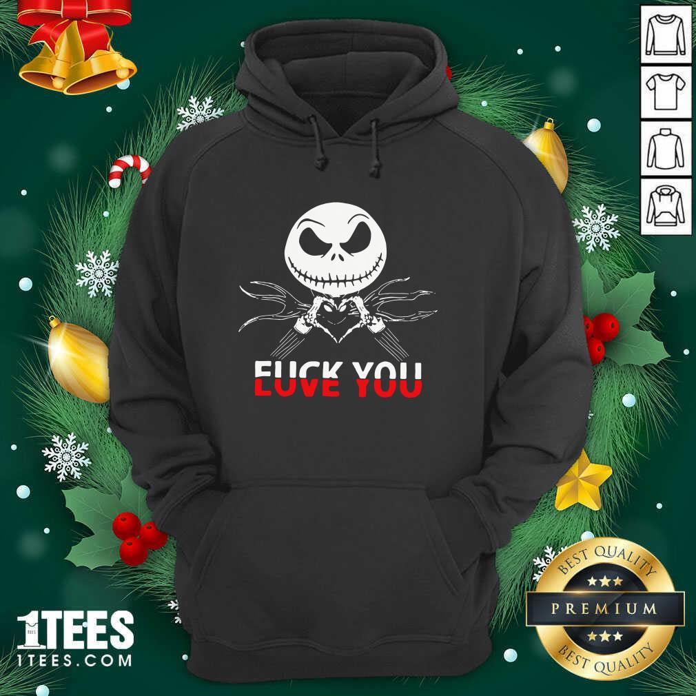 Jack Skeleton Fuck You Hoodie- Design By 1Tees.com