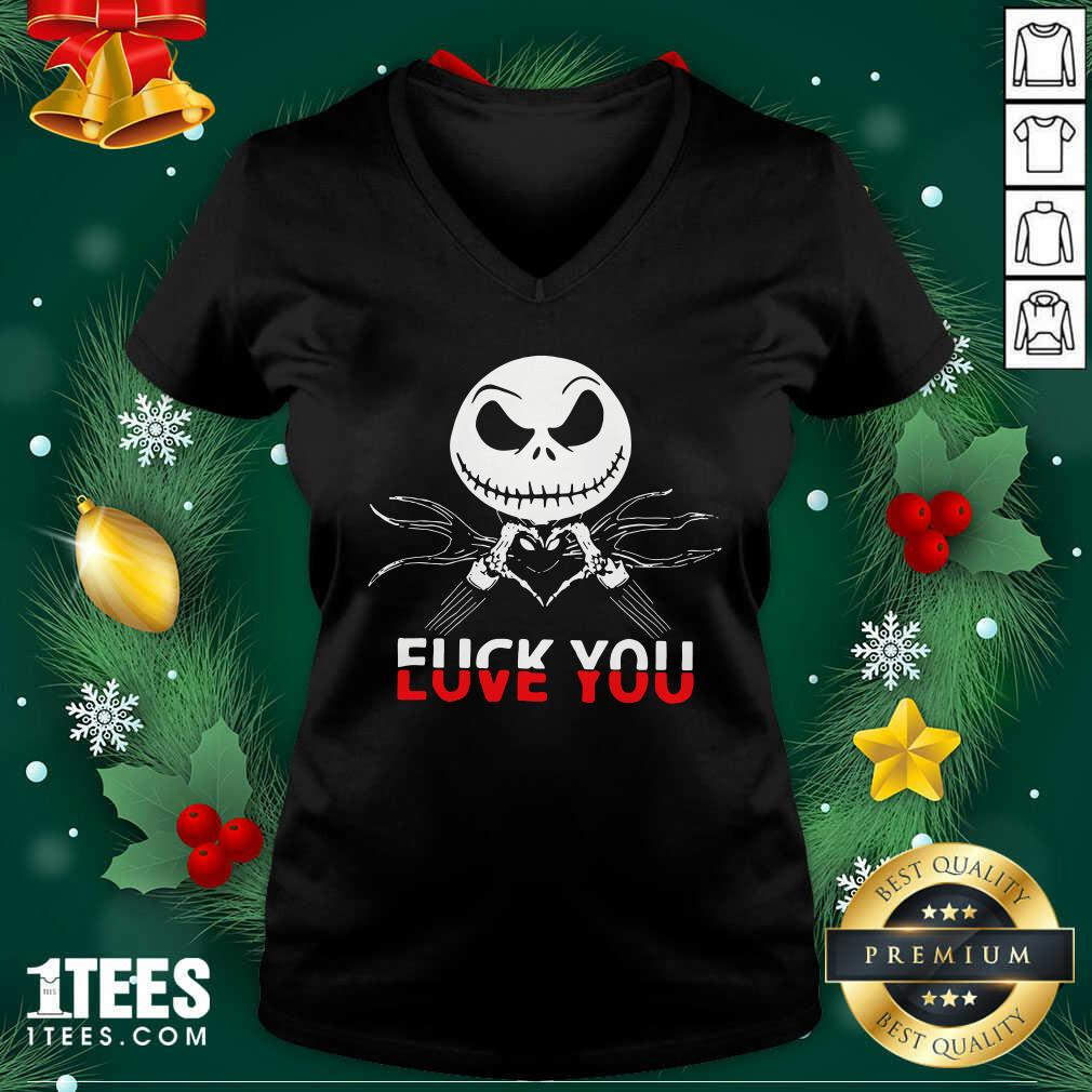 Jack Skeleton Fuck You V-neck- Design By 1tees.com