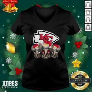 Kansas City Chiefs Elephant Christmas V-neck- Design By 1Tees.com