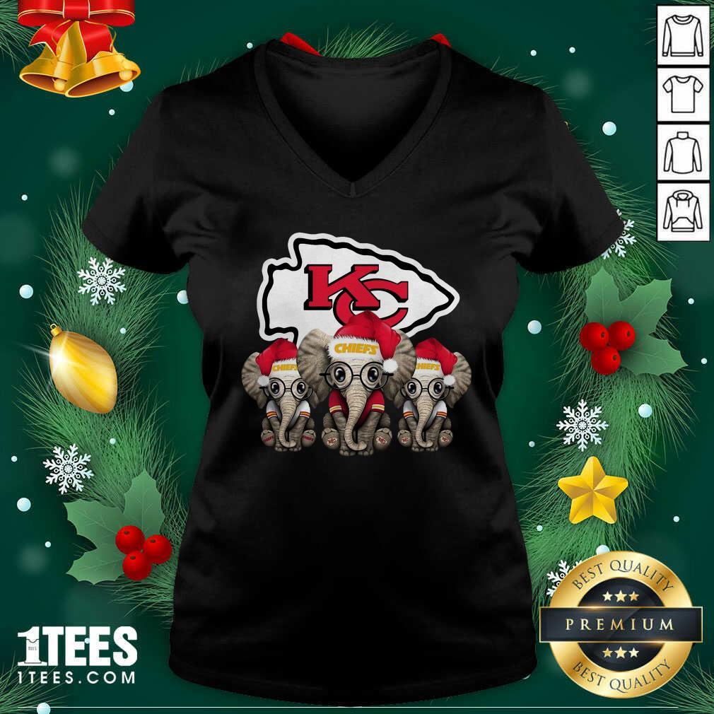 Kansas City Chiefs Elephant Christmas V-neck- Design By 1Tees.com