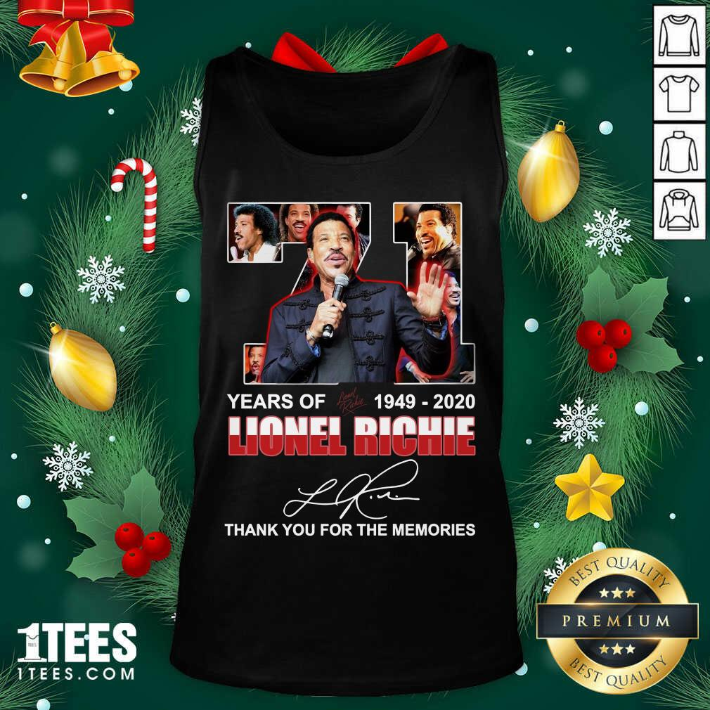 Lionel Richie 71 Years Of 1949 2020 Thank You For The Memories Signature Tank Top- Design By 1tees.com