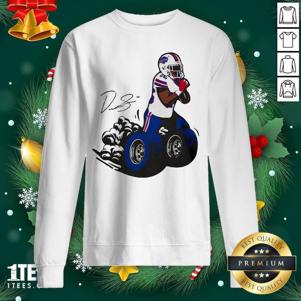 Buffalo Bills Fan Box Devin Singletary Motor Signature Sweatshirt- Design By 1tees.com