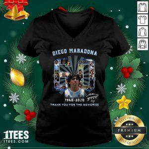 Diego Maradona 60 Years 1960 2020 Thank You For The Memories V-neck- Design By 1Tees.comFunny Diego Maradona 60 Years 1960 2020 Thank You For The Memories V-neck