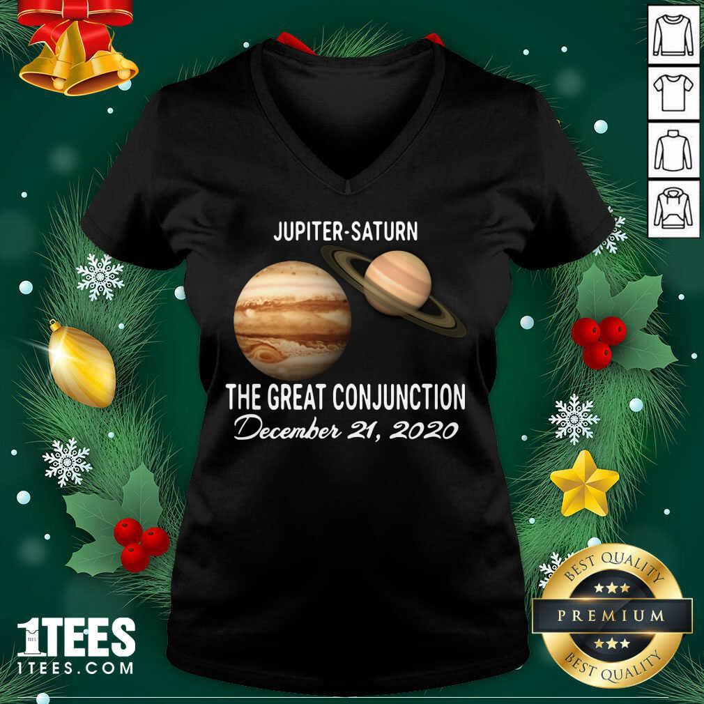 Jupiter Saturn The Great Conjunction December 21 2020 V-neck- Design By 1tees.com