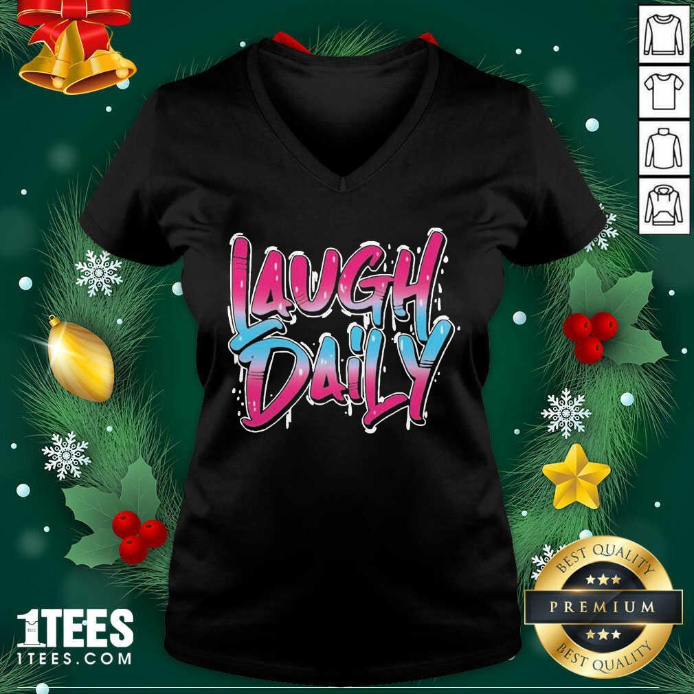 Morejstu Merch Laugh Daily V-neck- Design By 1tees.com