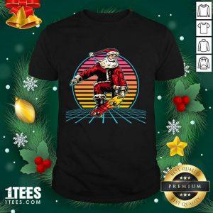 Retro Sunset 80s Christmas Skateboarding Santa Funny Christmas Shirt- Design By 1tees.com