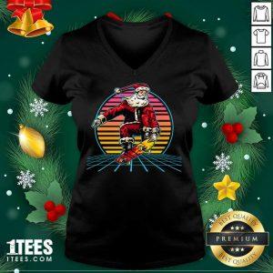 Retro Sunset 80s Christmas Skateboarding Santa Funny Christmas V-neck- Design By 1tees.com