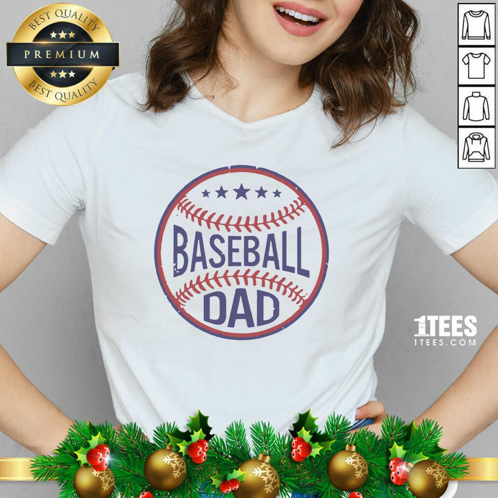 Baseball Dad Player Son Fathers Day Husband Daddy Grandpa V-neck- Design By 1Tees.com