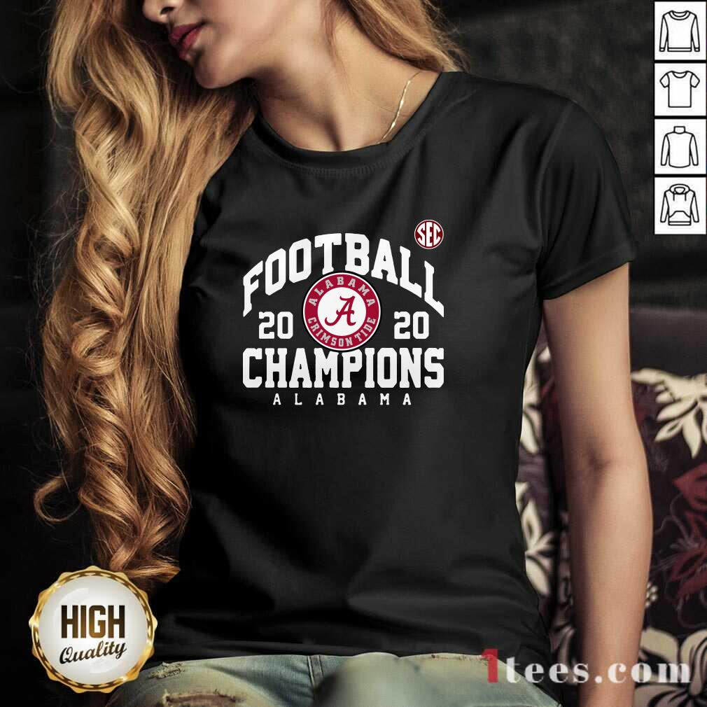 Crimson Alabama Crimson Tide 2020 Sec Football Champions V-neck- Design By 1tees.com