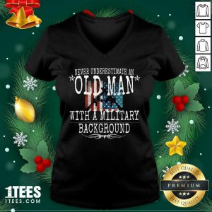 Never Underestimate An Old Man With A Millitary Background Gun American Flag V-neck- Design By 1Tees.com