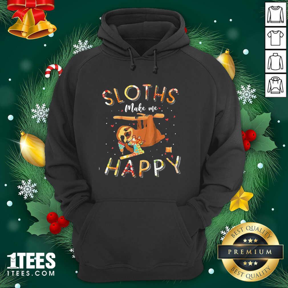 Sloths Make Me Happy Sewing Hoodie- Design By 1Tees.com