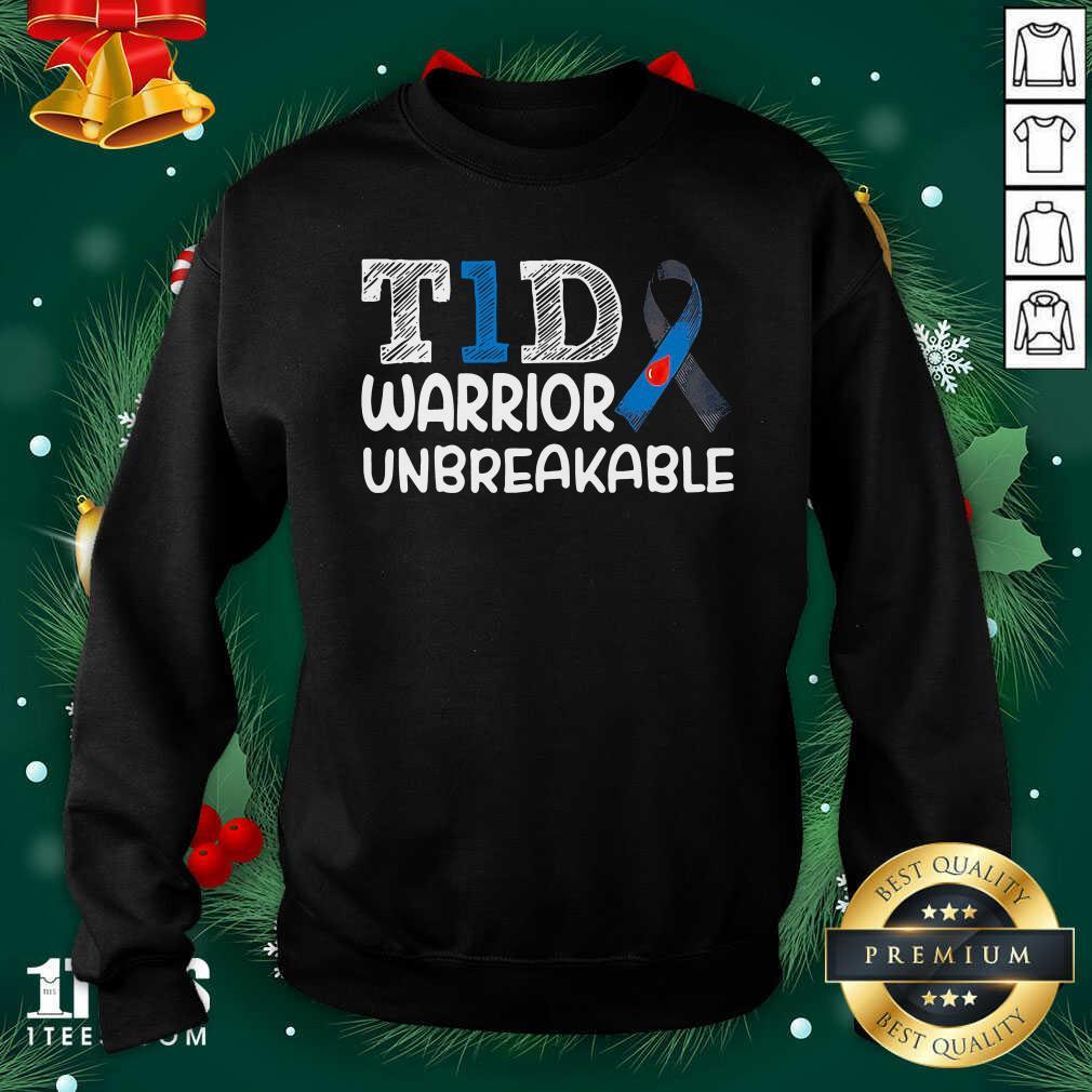 Diabetes T1D Warrior Unbreakable Sweatshirt- Design By 1Tees.com