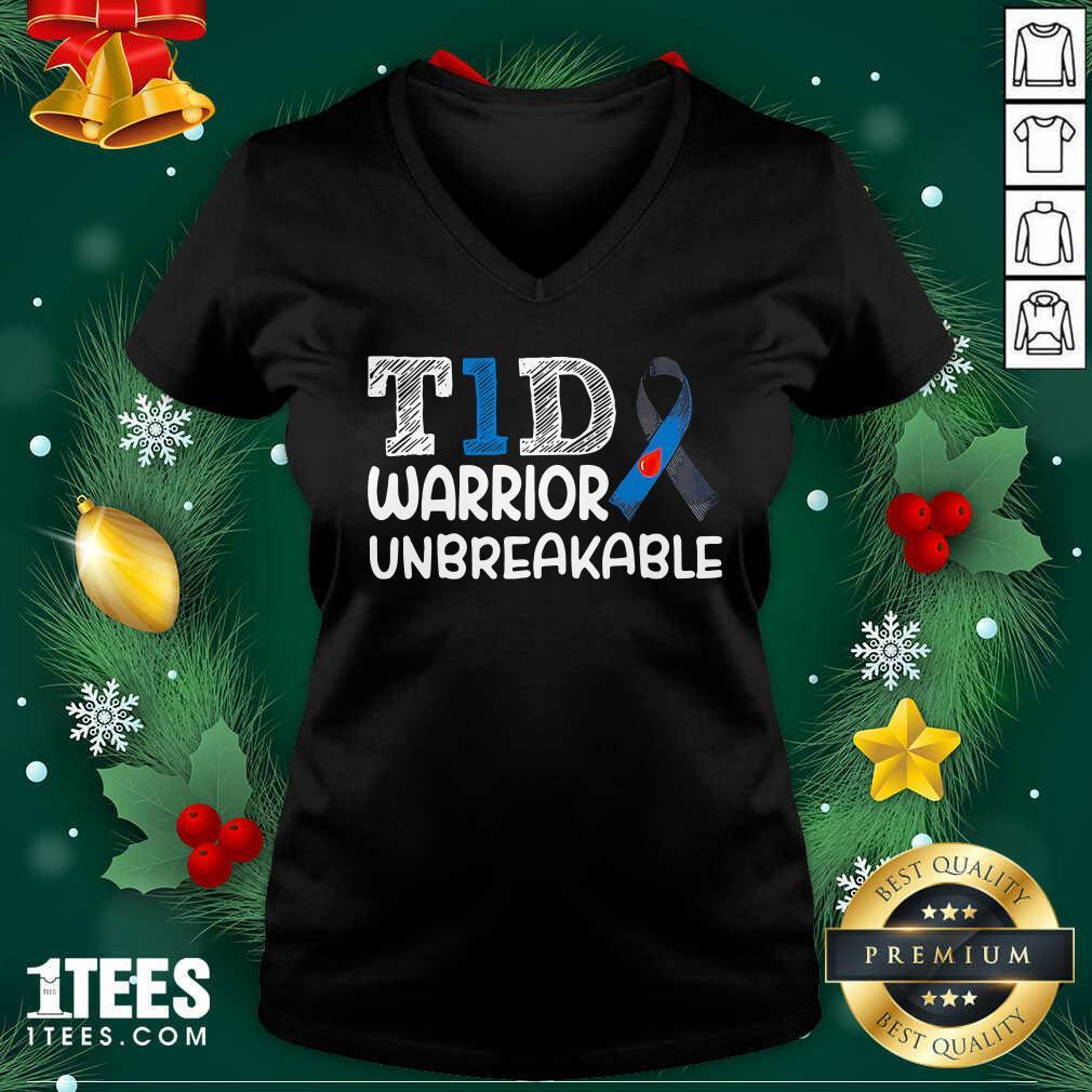 Diabetes T1D Warrior Unbreakable V-neck- Design By 1Tees.com