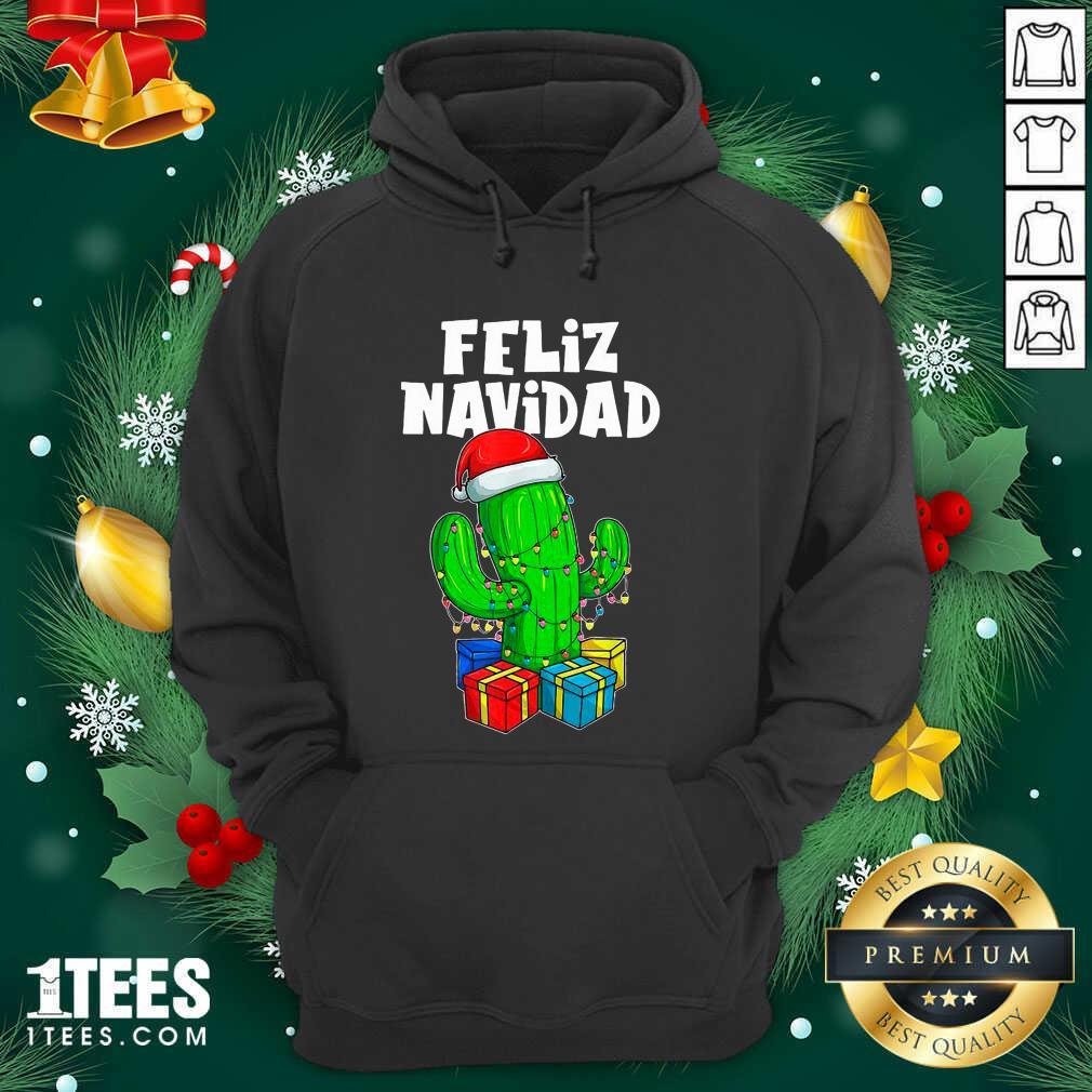 Funny Feliz Navidad Cactus Tree & Lights Spanish Pajama Christmas Hoodie- Design By 1Tees.com