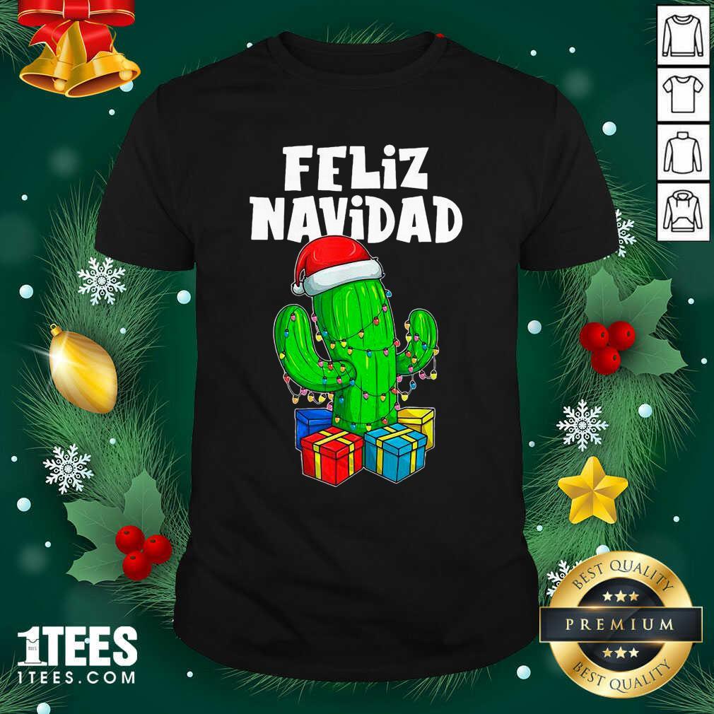 Funny Feliz Navidad Cactus Tree & Lights Spanish Pajama Christmas Shirt- Design By 1Tees.com