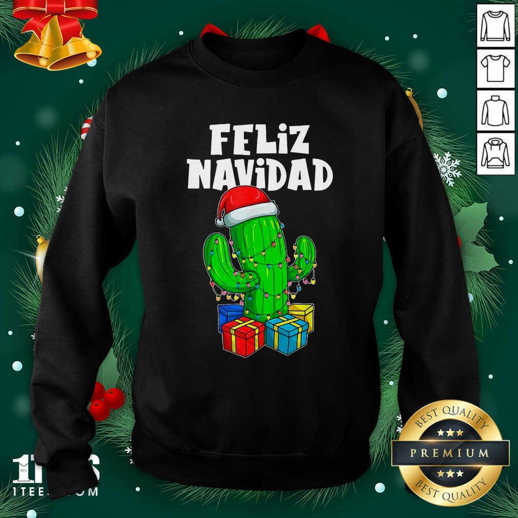 Funny Feliz Navidad Cactus Tree & Lights Spanish Pajama Christmas Sweatshirt- Design By 1Tees.com