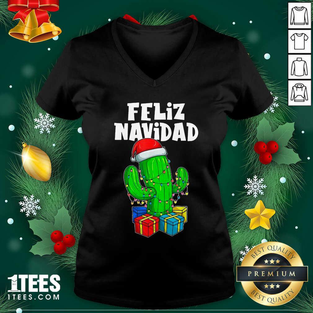 Funny Feliz Navidad Cactus Tree & Lights Spanish Pajama Christmas V-neck- Design By 1Tees.com