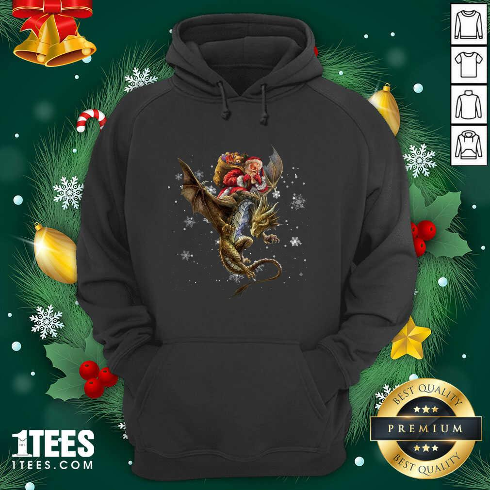 Santa Claus Riding Dragon Christmas Hoodie- Design By 1Tees.com