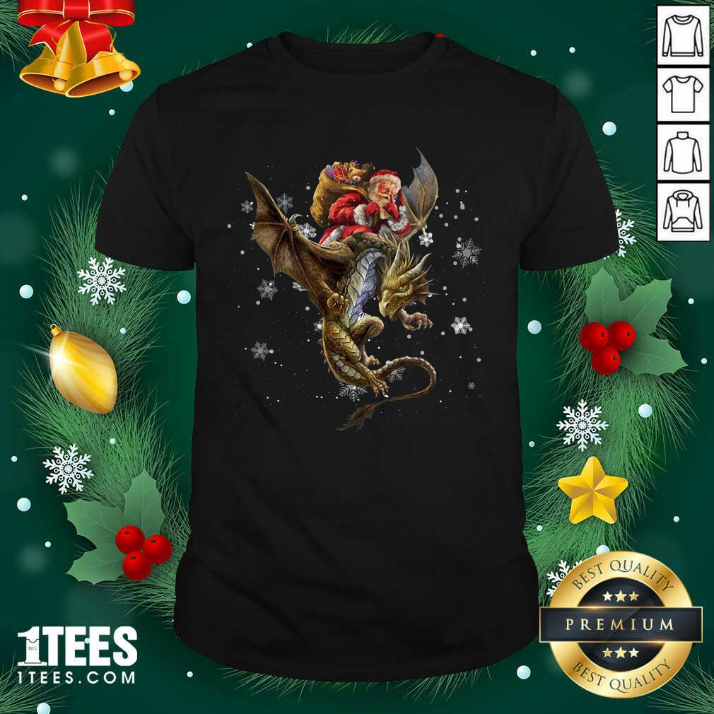 Santa Claus Riding Dragon Christmas Shirt- Design By 1Tees.com