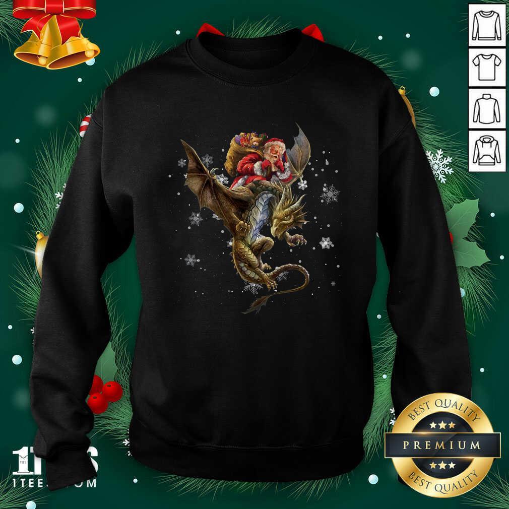 Santa Claus Riding Dragon Christmas Sweatshirt- Design By 1Tees.com