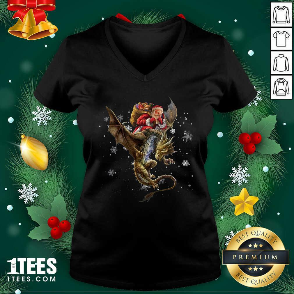 Santa Claus Riding Dragon Christmas V-neck- Design By 1Tees.com
