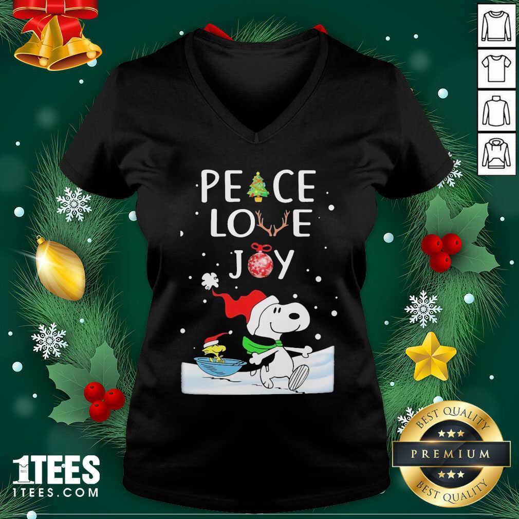 Snoopy Peace Love Joy Christmas V-neck- Design By 1tees.com