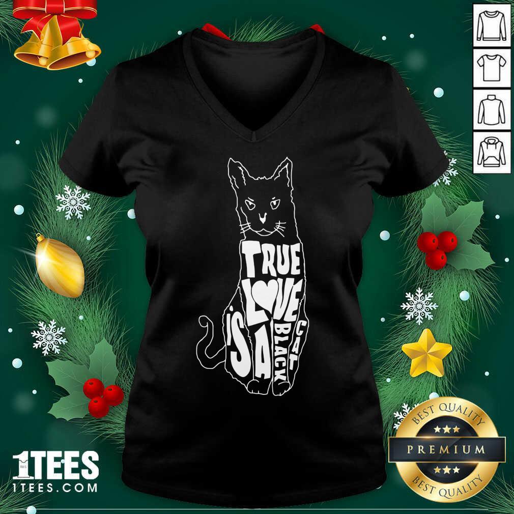 True Love Is A Black Cat V-neck- Design By 1tees.com