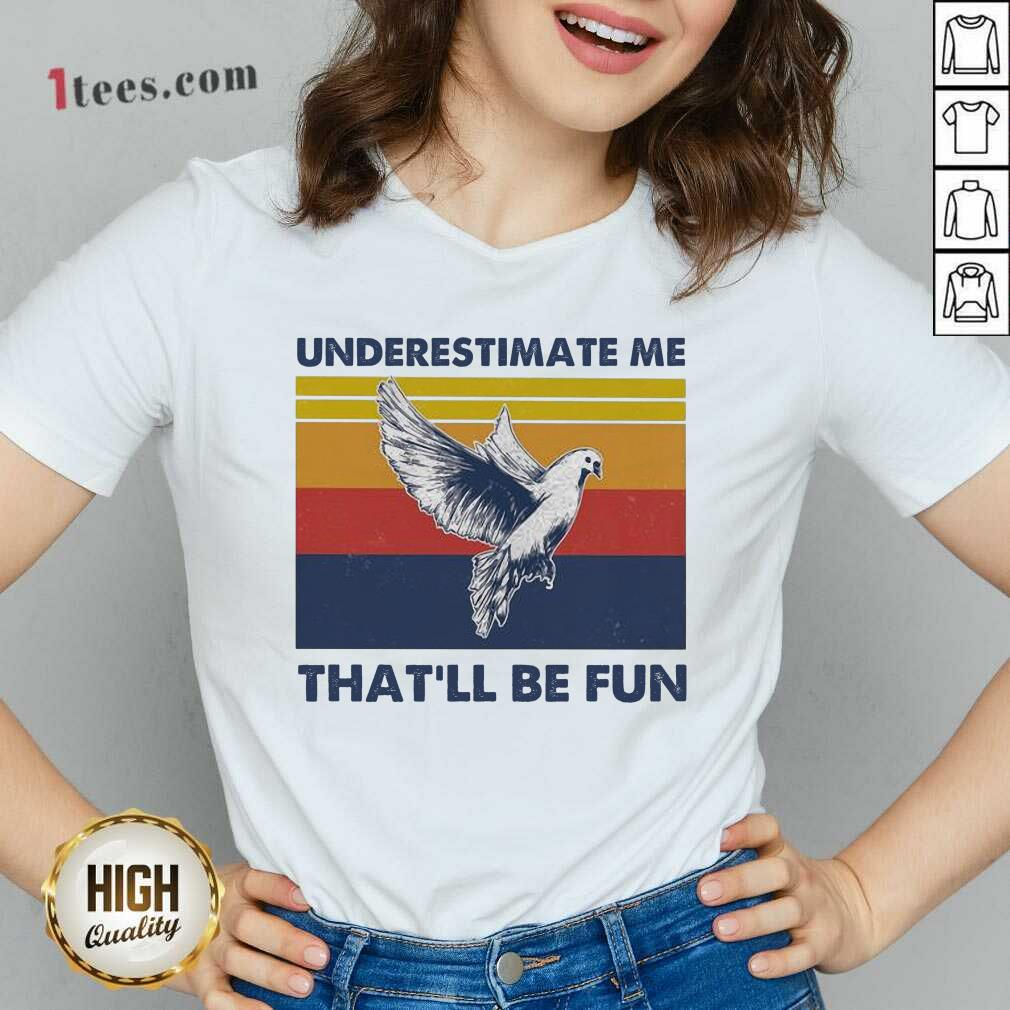 Underestimate Me That'll Be Fun Dove Vintage V-neck- Design By 1Tees.com