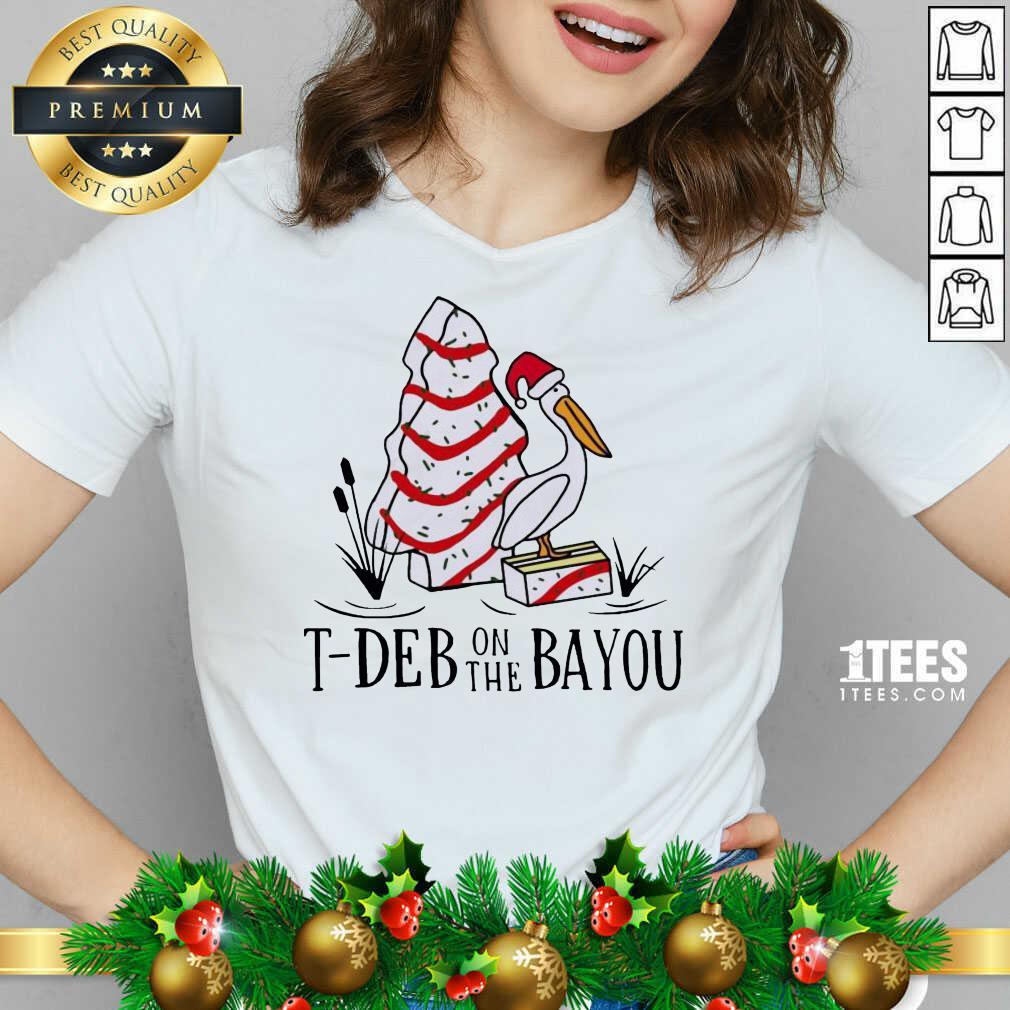 Santa Pelecanus T Deb On The Bayou Christmas V-neck- Design By 1Tees.com