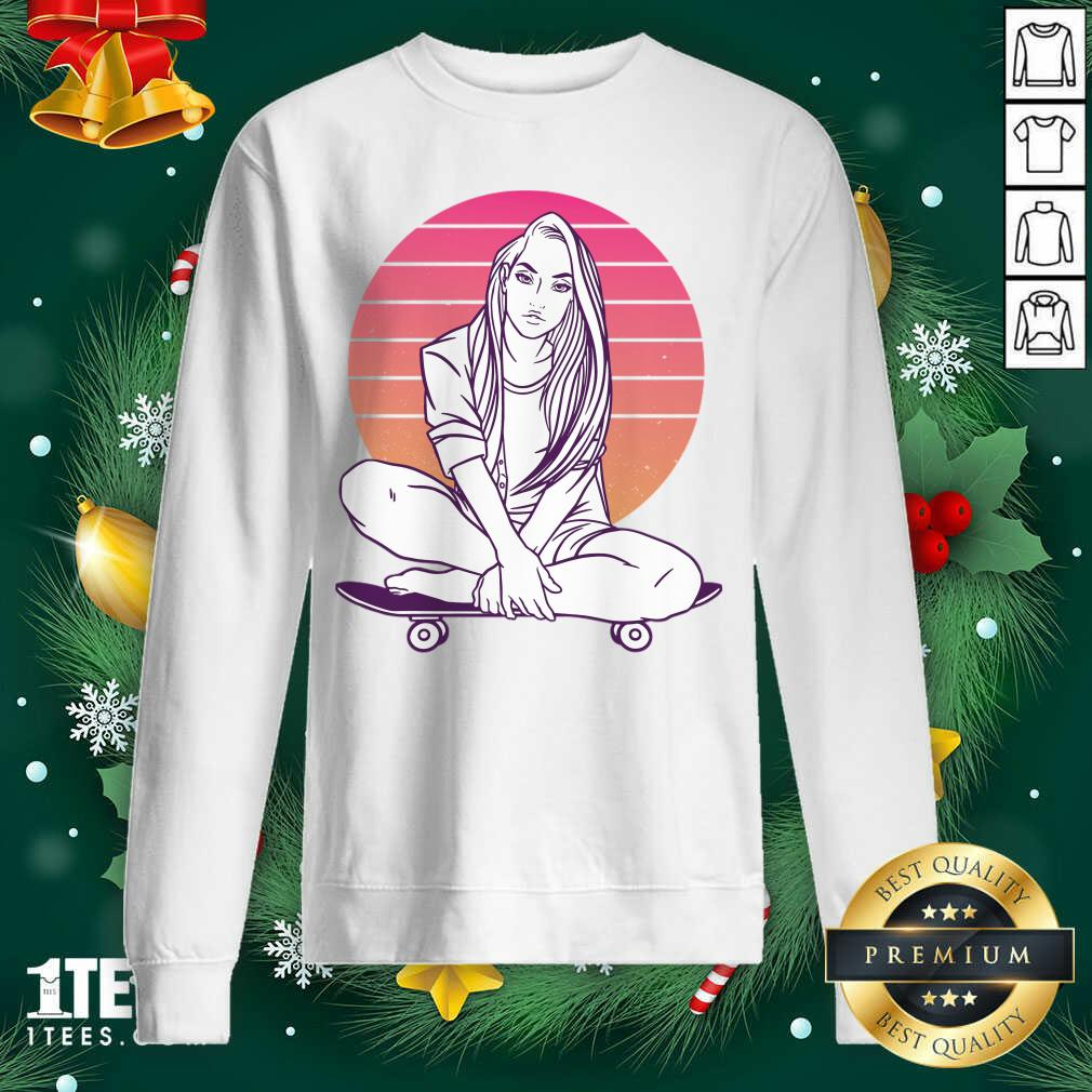 Skateboarding Skater Girl Sunset Gift Sweatshirt- Design By 1Tees.com