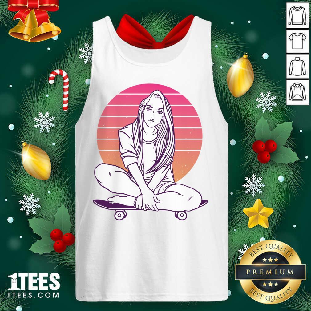 Skateboarding Skater Girl Sunset Gift Tank Top- Design By 1Tees.com