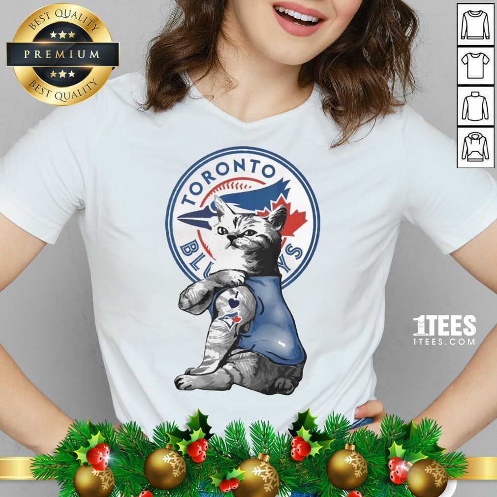 Tattoo Cat I love Toronto Blue Rays V-neck- Design By 1tees.com