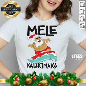 Mele Kalikimaka Hawaiian Christmas Hawaii Surfing Santa V-neck- Design By 1tees.com