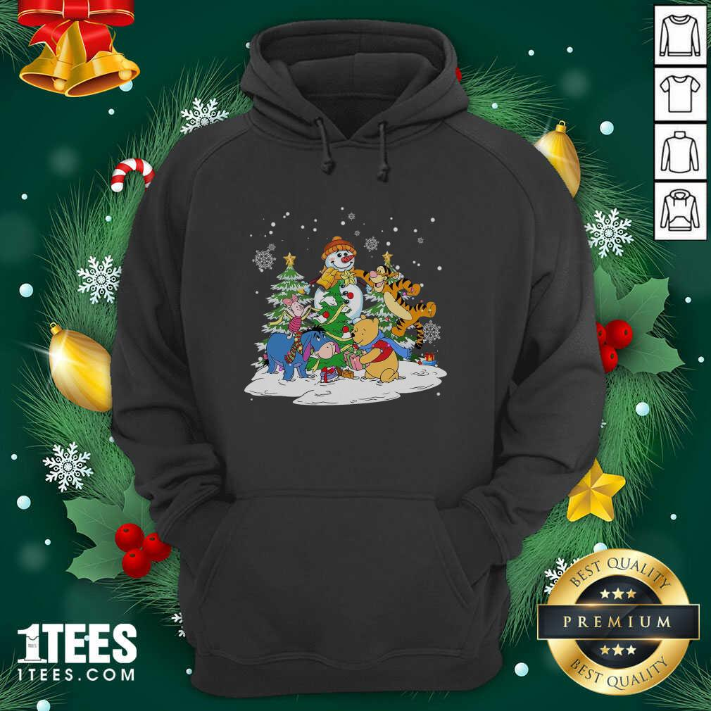 Snowman Bear And Friends Christmas Hoodie- Design By 1Tees.com