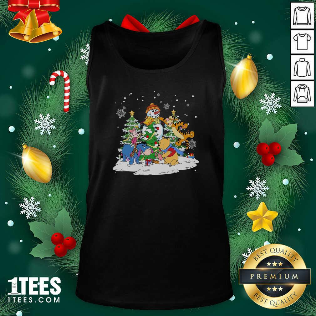 Snowman Bear And Friends Christmas Tank Top- Design By 1Tees.com