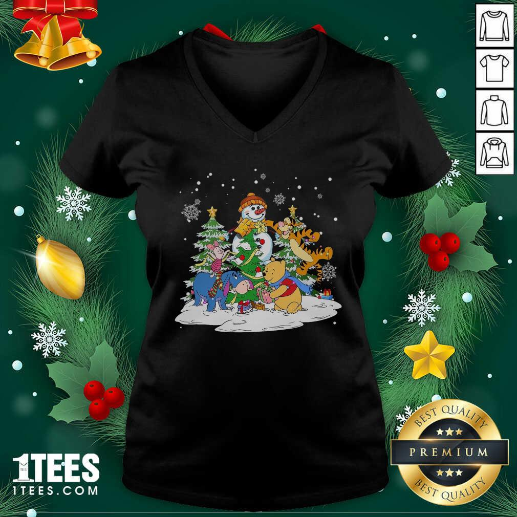 Snowman Bear And Friends Christmas V-neck- Design By 1Tees.com