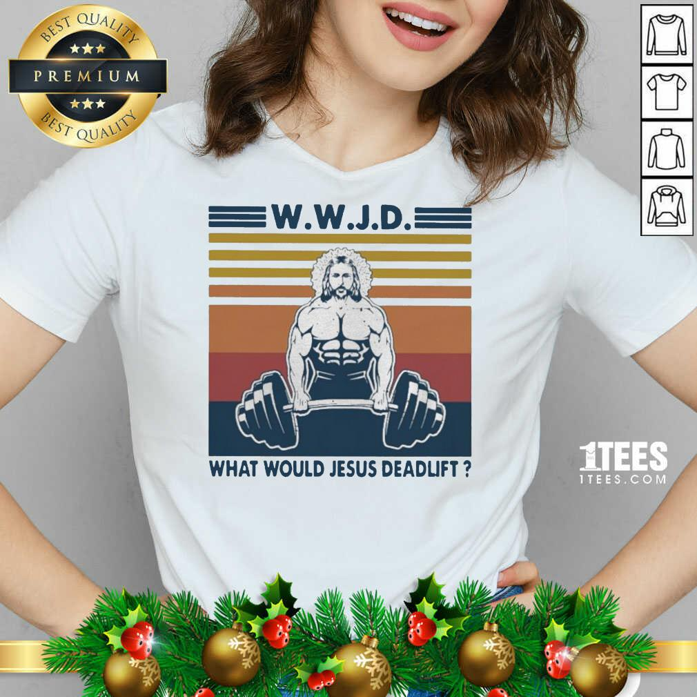Wwjd What Would Jesus Deadlift Vintage V-neck- Design By 1tees.com