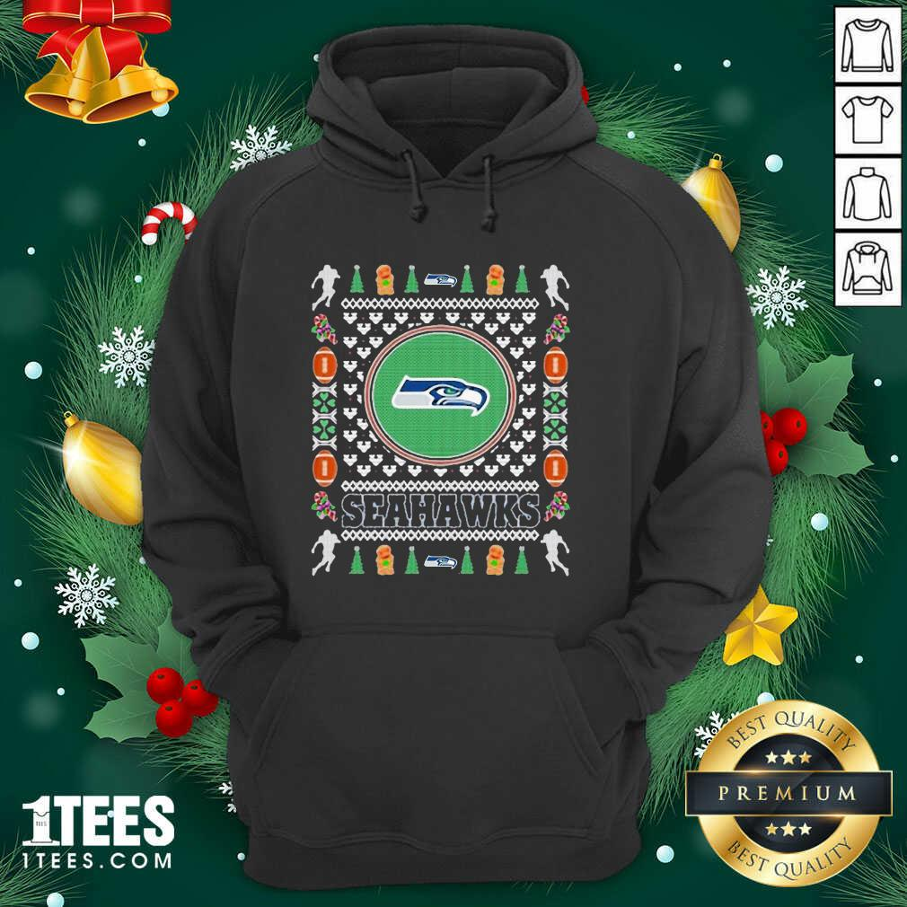 Seattle Seahawks Merry Ugly Christmas Hoodie- Design By 1Tees.com