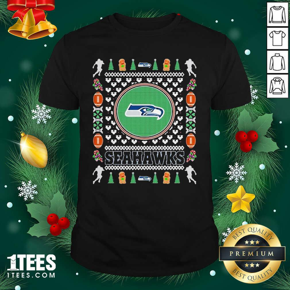 Seattle Seahawks Merry Ugly Christmas Shirt- Design By 1Tees.com
