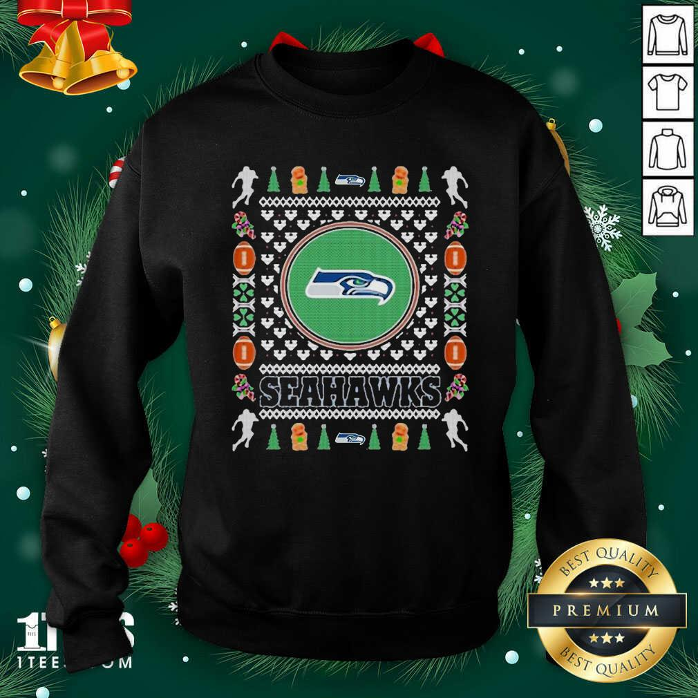 Seattle Seahawks Merry Ugly Christmas Sweatshirt- Design By 1Tees.com