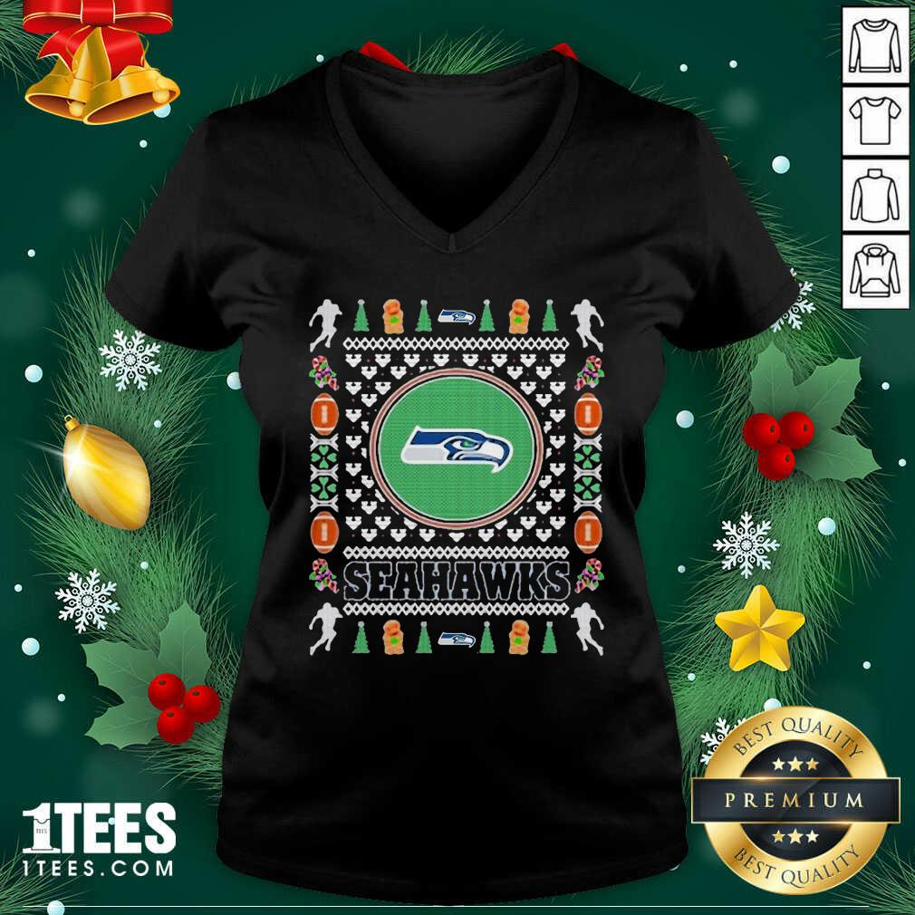 Seattle Seahawks Merry Ugly Christmas V-neck- Design By 1Tees.com