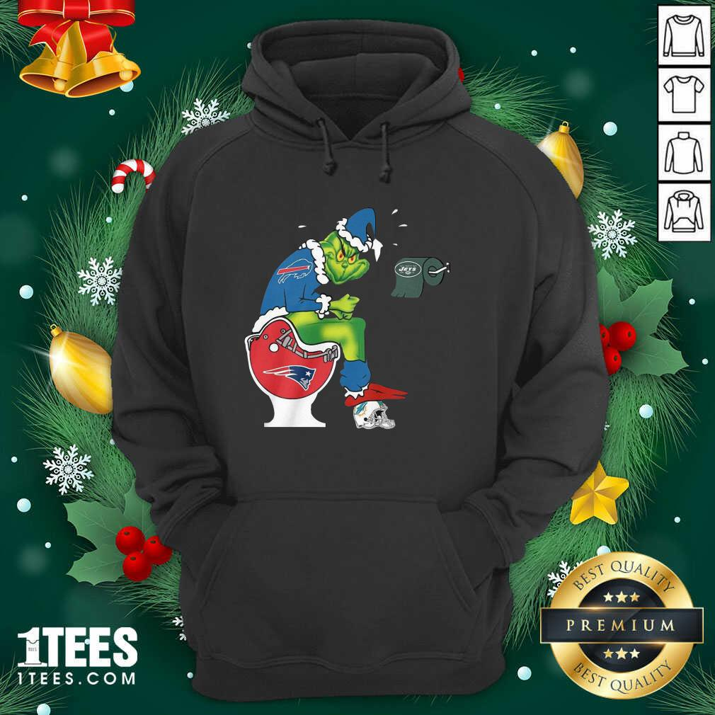The Grinch New York Jets Shit On Toilet New England Patriots And Other Teams Christmas Hoodie- Design By 1Tees.com