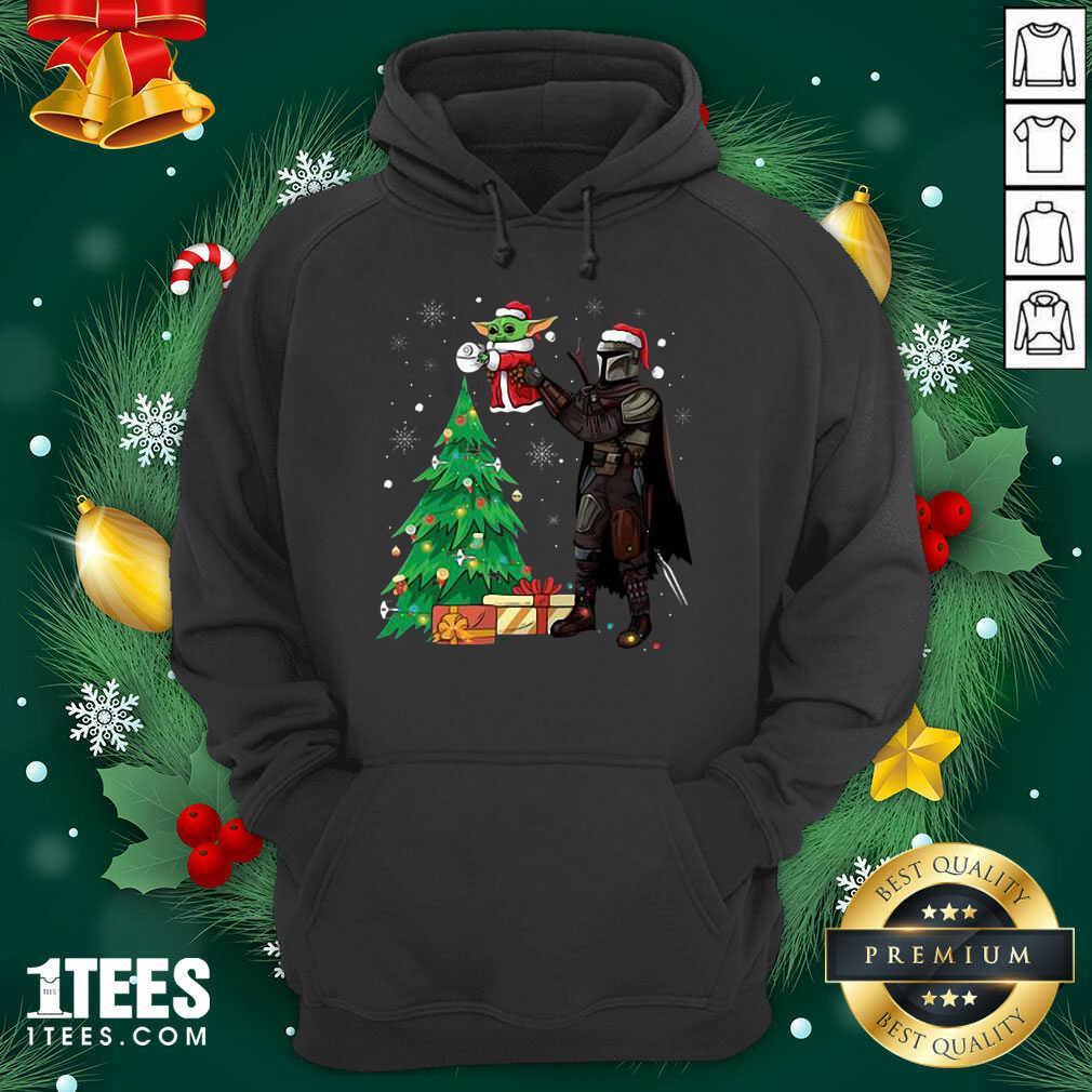 Darth Vader And Baby Yoda Santa Tree Christmas Hoodie- Design By 1Tees.com