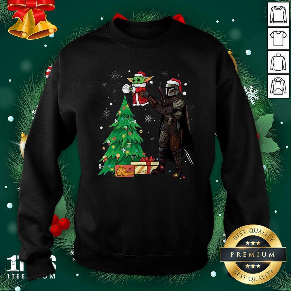 Darth Vader And Baby Yoda Santa Tree Christmas Sweatshirt- Design By 1Tees.com
